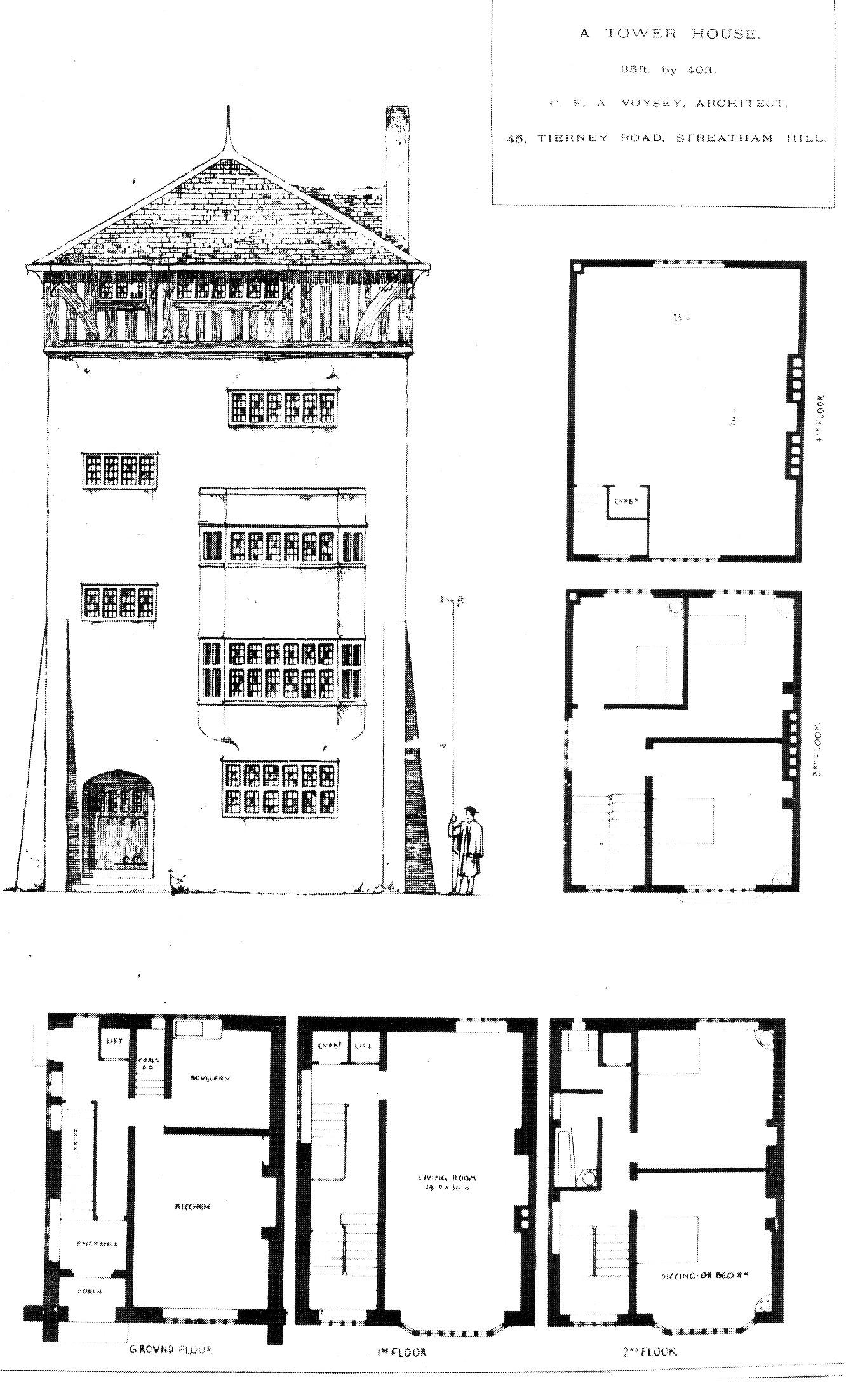 1889 tower house streatham hill for Building plans images